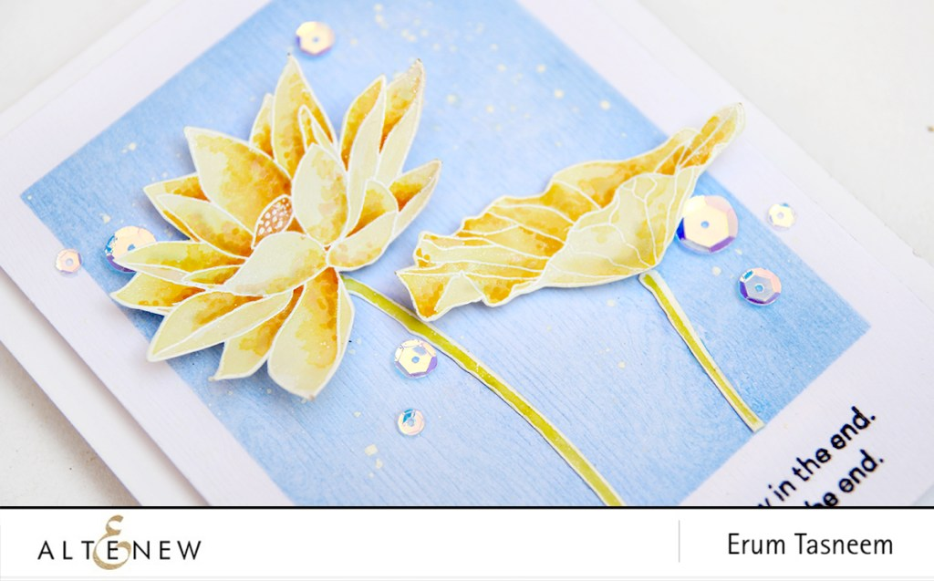Altenew Lotus Stamp Set watercoloured with Crisp Inks | Erum Tasneem | @pr0digy0 | @altenew