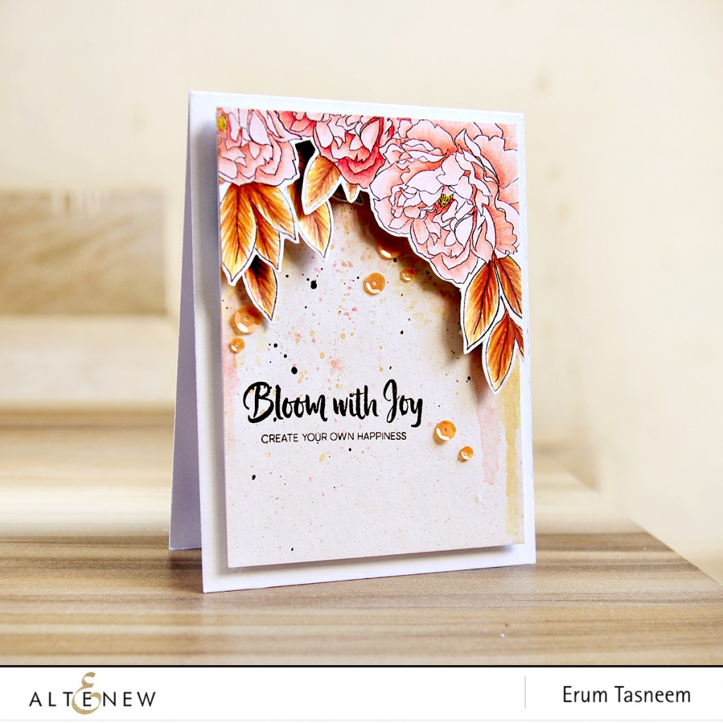 Altenew Peony Spray Stamp Set coloured with Artist Markers | Erum Tasneem | @pr0digy0 | @altenew