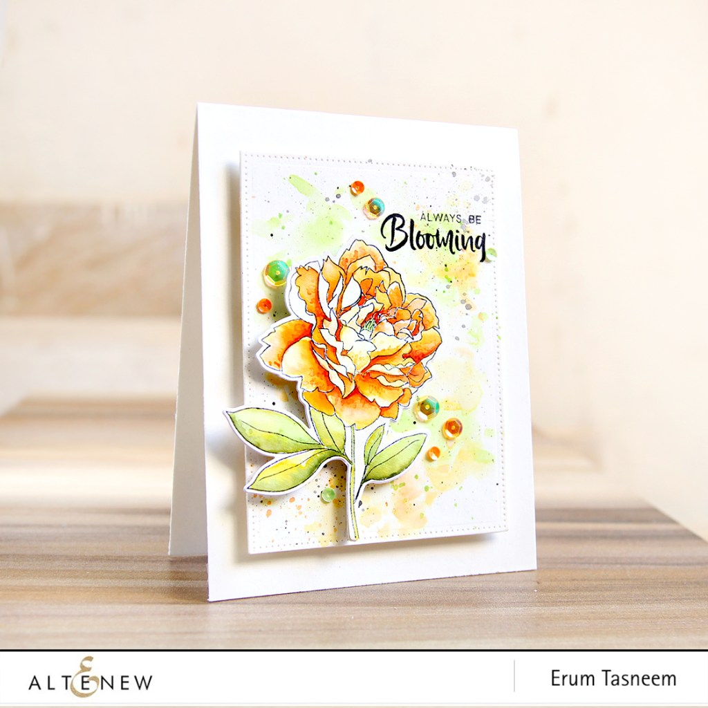 Altenew Peony Spray Stamp Set Watercoloured | Erum Tasneem | @pr0digy0 | @altenew