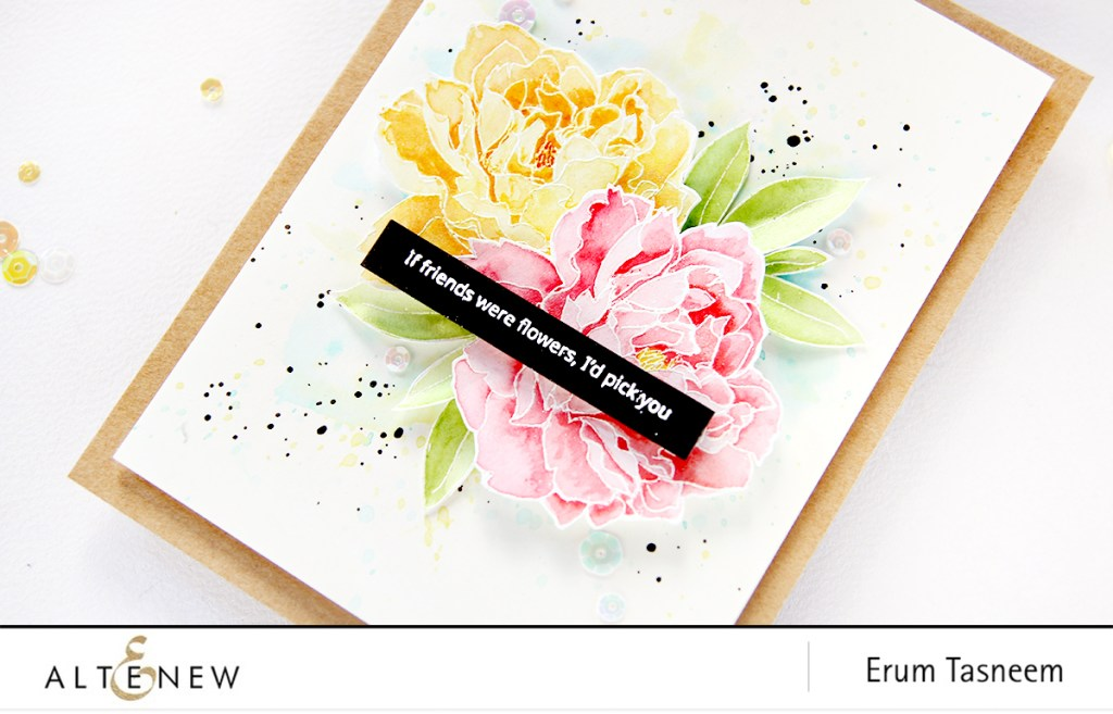 Altenew Peony Spray Stamp Set Watercoloured with Ink Sprays | Erum Tasneem | @pr0digy0 | @altenew