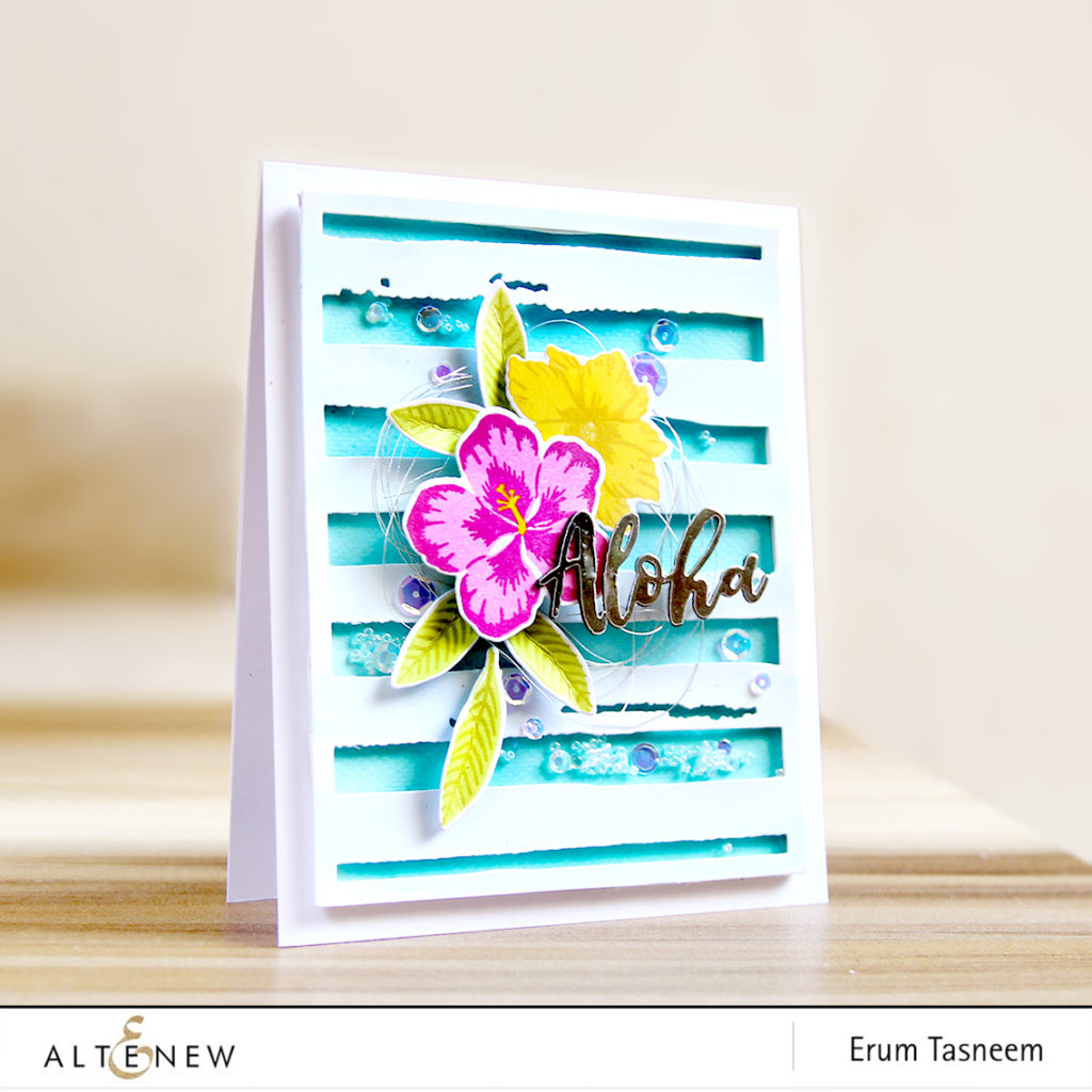 Altenew Totally Tropical Stamp Set | Watercolour Stripes Cover Plate | Erum Tasneem | @pr0digy0 | @Altenew