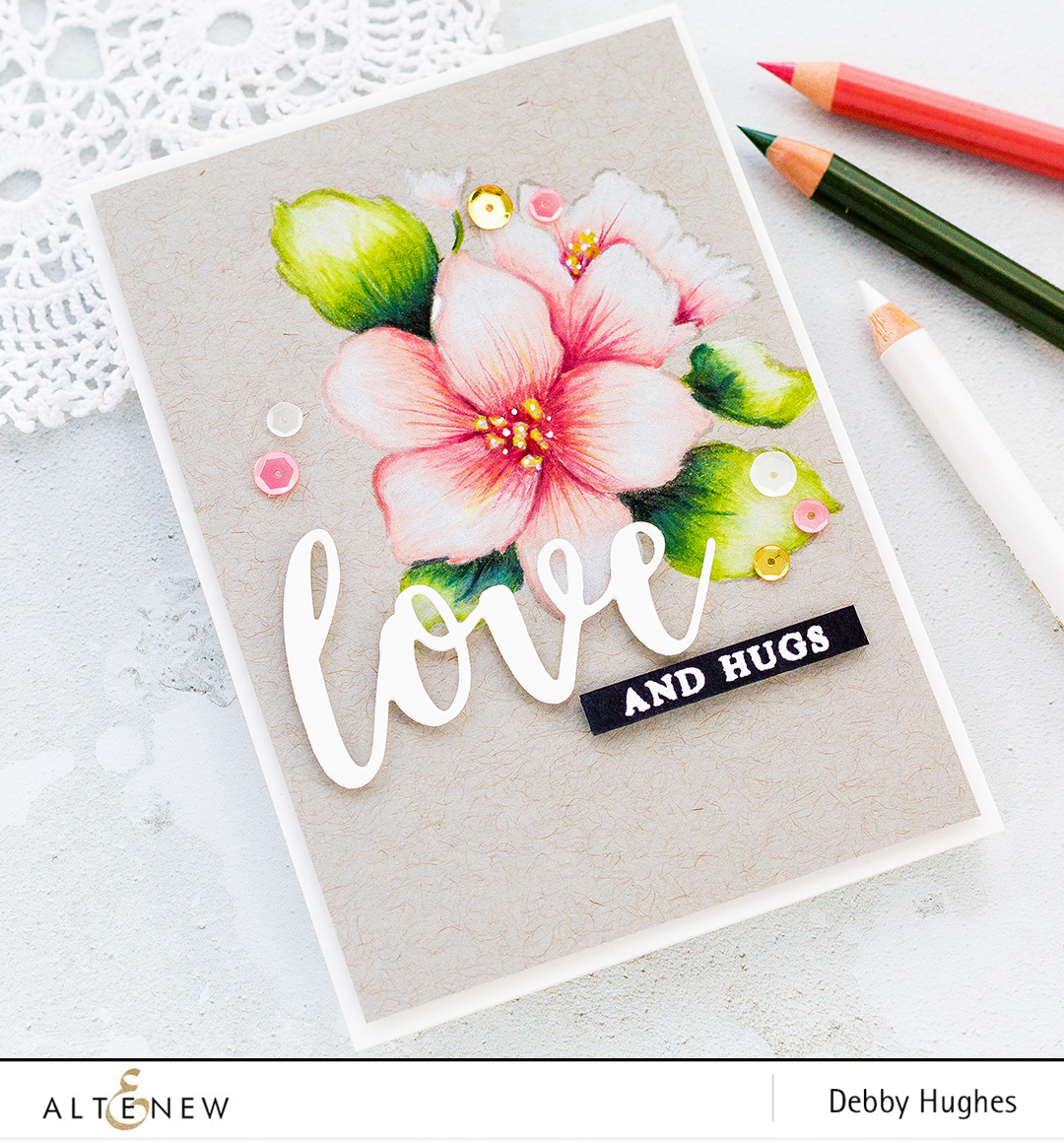 Colourful floral focal point coloured with pencils on kraft. Handmade card by Debby Hughes. Find out more here: http://wp.me/p6Dps1-5Ec