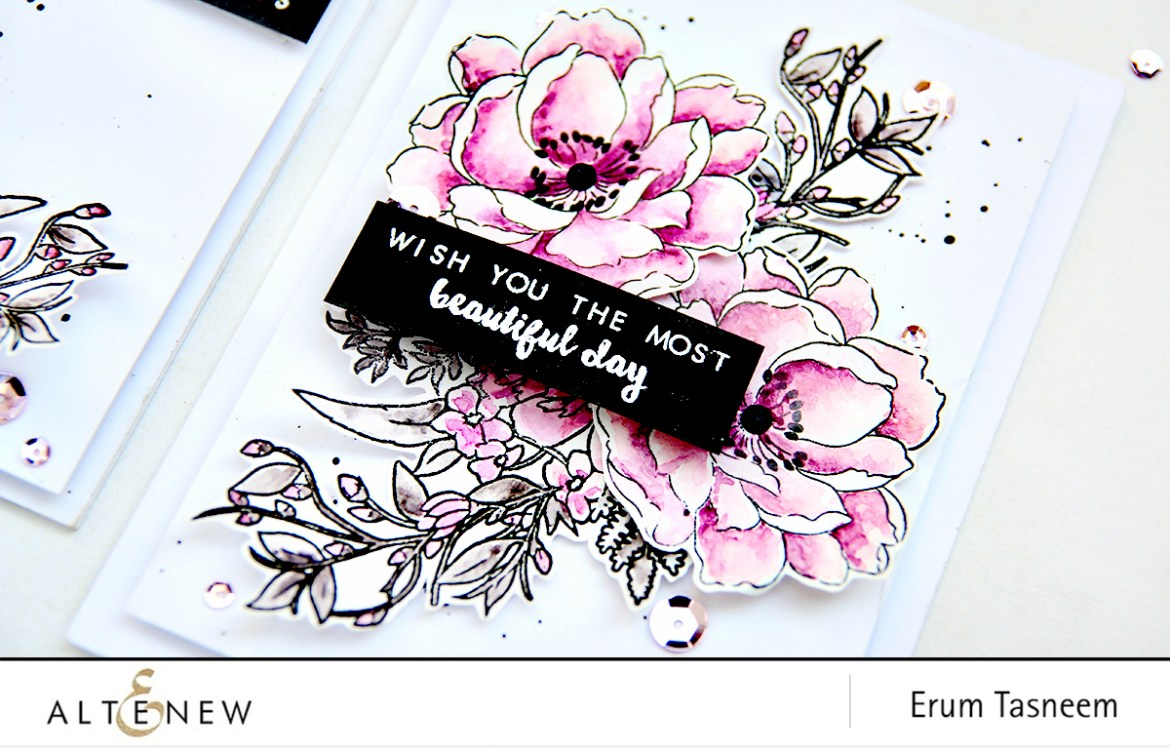 Altenew Beautiful Day and Just Because Stamp Set colored with Altenew 36 Pan watercolor set | Erum Tasneem | @pr0digy0