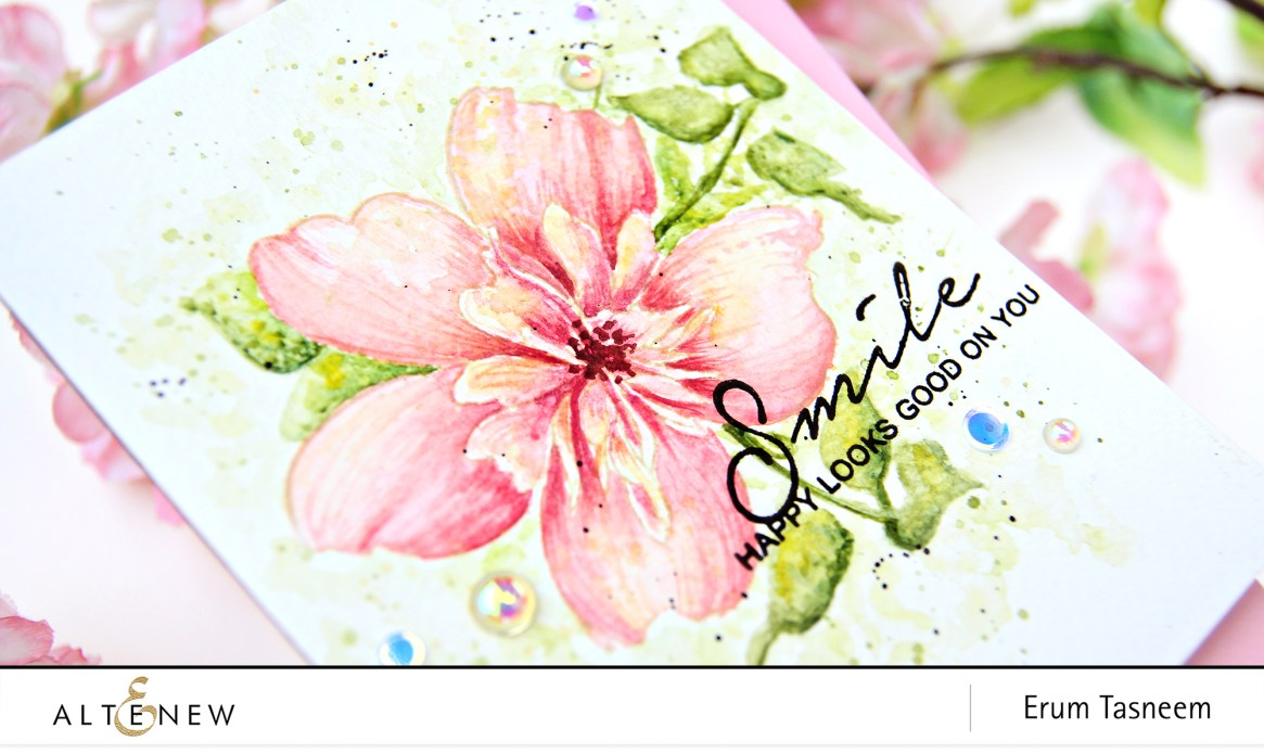 Altenew Floral Art Stamp Set Watercolored with 36 Pan Watercolor Set | Erum Tasneem | @pr0digy0