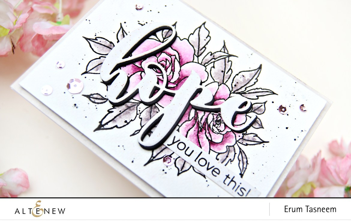 Altenew Forever in Love Stamp + Mega Hope Die + 36 Pan Watercolor Set | Erum Tasneem | @pr0digy0
