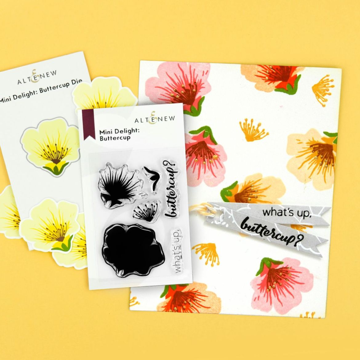 Mini Delight: Buttercup stamp and die set and sample card