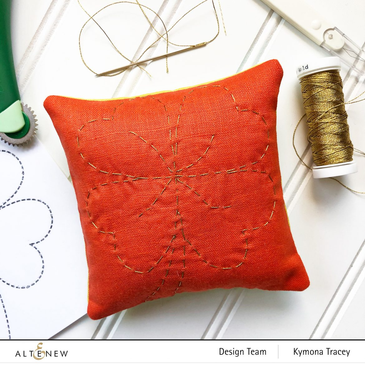 Sewing project using metallic thread - pincushion