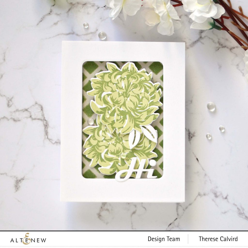 Altenew - Mixed Media Ink Product Focus - Japanese Mum - Bold Greetings - Trellis Stencil - Hanging Garden - Rounded Rectangles -Take 2 With Therese 2 copy