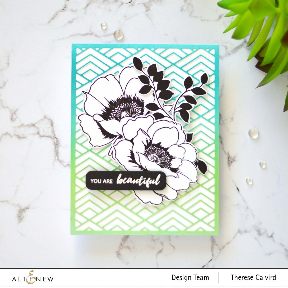 Altenew - Stacked Diamonds Cover Die - Featured Sentiments Die - Wallpaper Art - Take 2 With Therese (card video) 1 copy