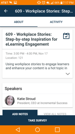 Screenshot of of Katie Stroud's session on the DevLearn 2016 app