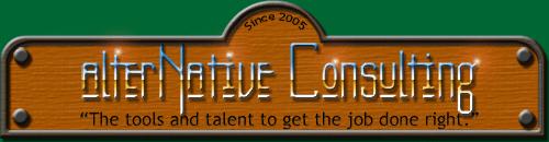 Original signage for alterNative Consulting.
