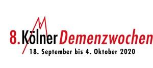 Logo der 8 Kölner Demenzwochen in rot und schwarz. Zwei Zacken als Symbol für den Kölner Dom im Hintergrund. Schriftzug mit Datum.