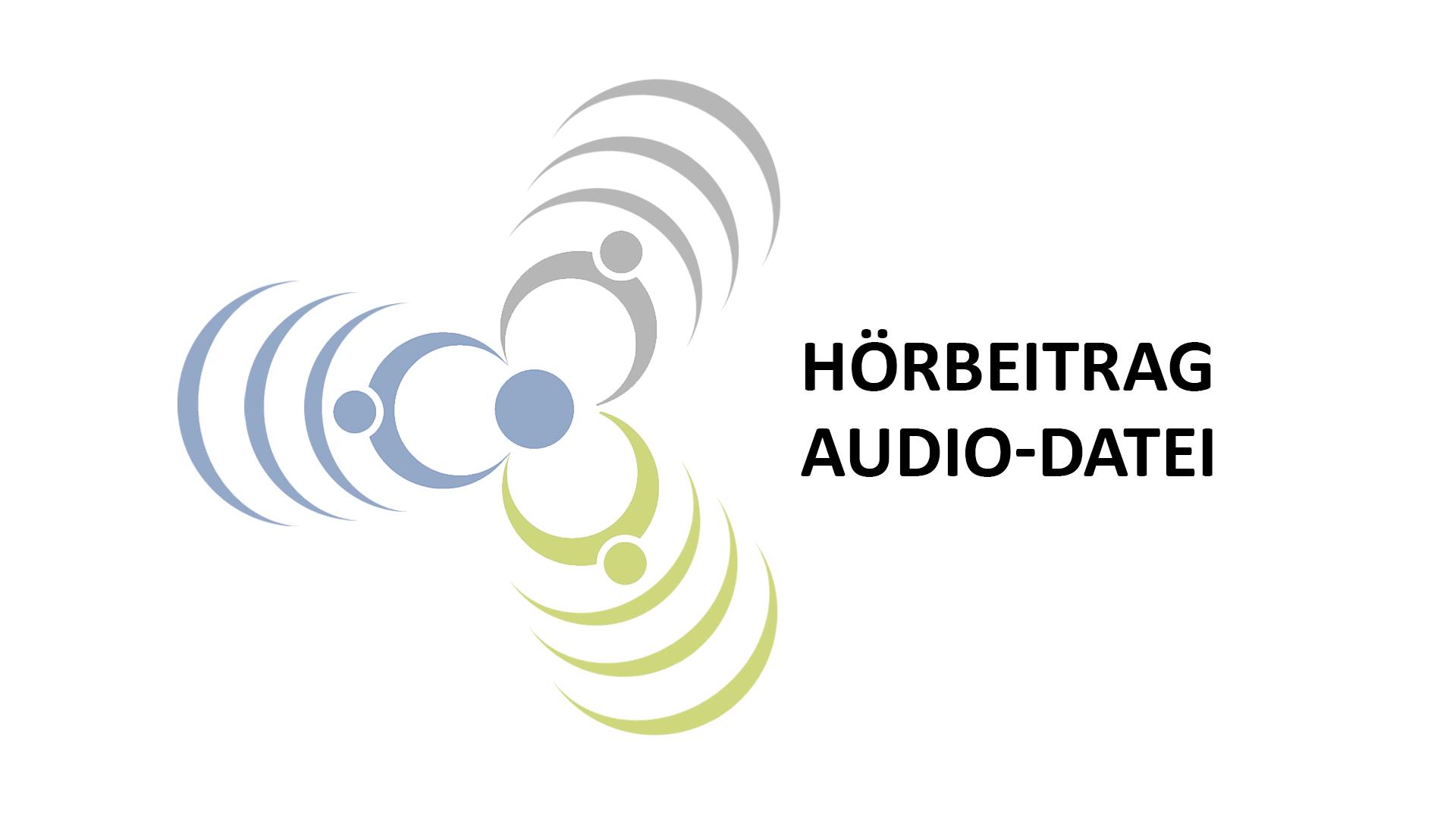 """Blumenlogo der Regionalbüros mit dem Schriftzug """"Hörbeitrag, Audio-Datei"""""""