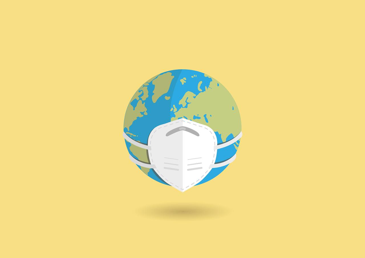 Weltkugel mit FFP2-Maske