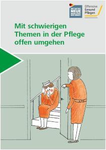 Titelbild der Broschüre. Eine Zeichnung auf der zwei Pflegekräfte zu sehen sind. Eine von beiden sitzt auf einer Treppe und ist rot vor Scham..