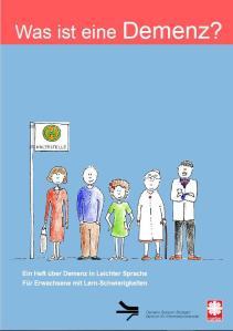 Titelbild der Broschüre, auf dem 5 unterschiedlich alte, gezeichnete Menschen an einer Bushaltestelle stehen.