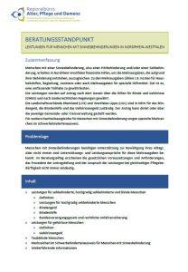 Screenshot der ersten Seite des Beratungsstandpunkts.