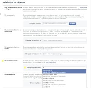 prohibir invitaciones juegos facebook