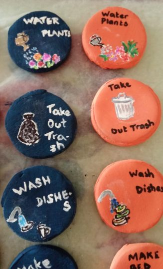 Chore Chart - Painted Buttons