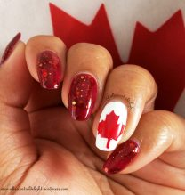 Polish used: KBShimmer Leaf of Faith, Sally Hansen Insta Dri Rapid Red, Color Club French Tip