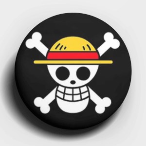 One Piece Straw Hat Jolly Roger Button Pin