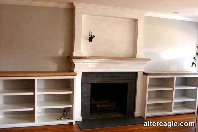 Custom fireplace mantels surrounds and mantels with cabinets