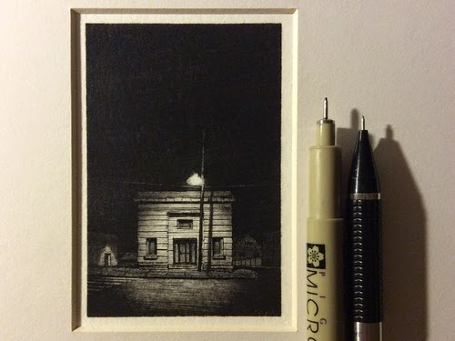 Miniature Pencil and Ink Drawings with a lot of Detail