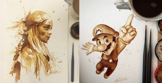Artist uses coffee to draw detailed paintings of her favourite characters