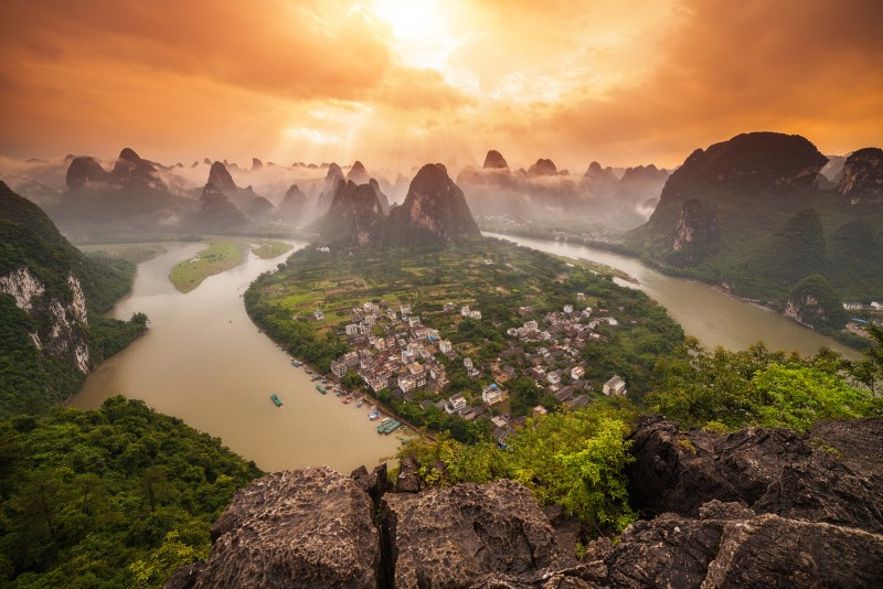 View of the Li River from the top of Lao Zhai Shan