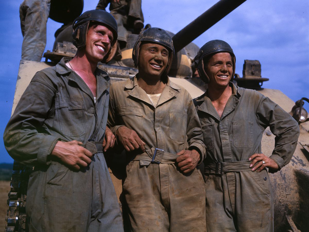 Life at Fort Knox in 1942 - 5. An M4 tank crew poses for a photograph