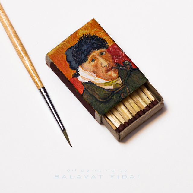 """Van Gogh Matchboxes - """"Self-Portrait with Bandaged Ear and Pipe"""""""