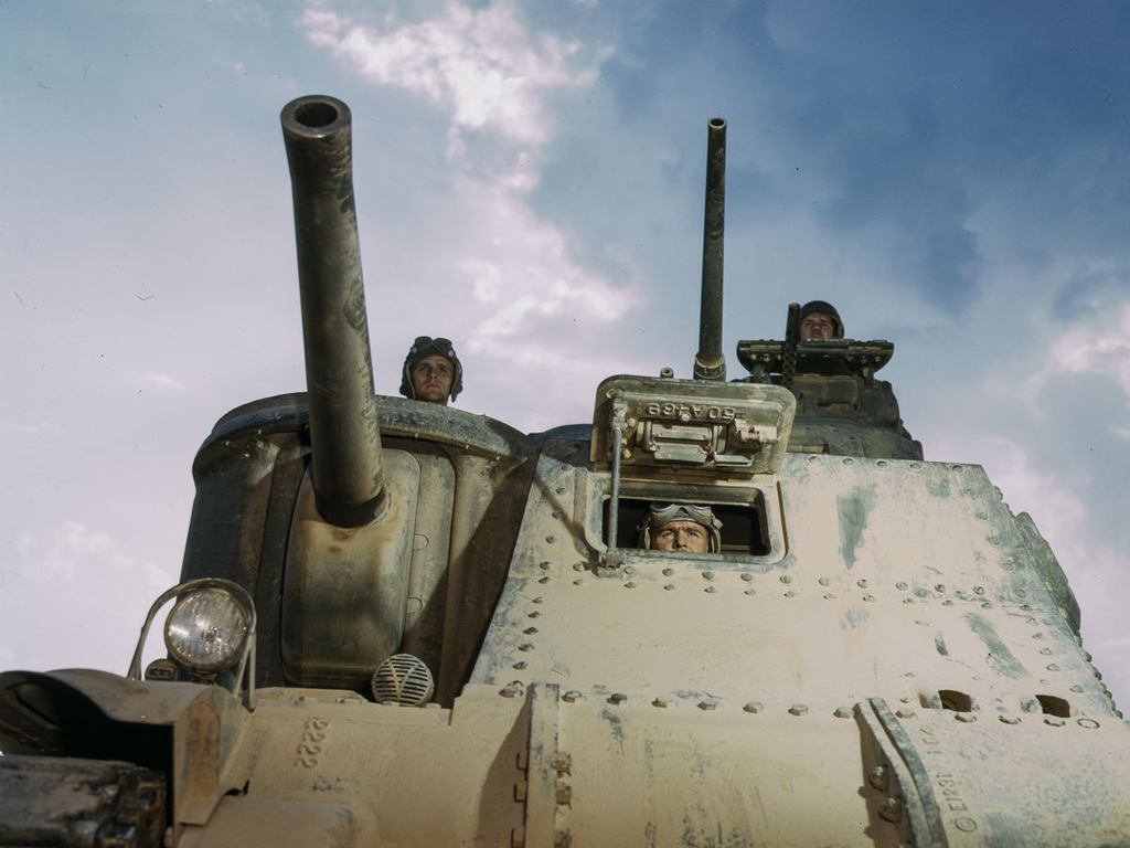 Life at Fort Knox in 1942 - 3. An M3 tank and crew prepare for the next maneuver.