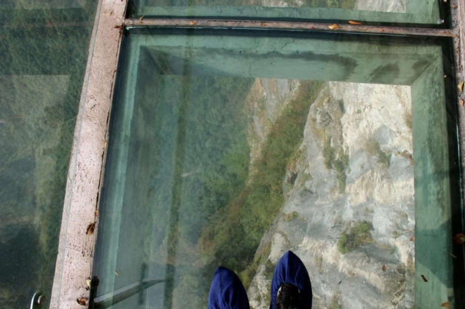 The Walk of Faith is a glass walkway built on the side of the 4700 foot tall Zhangjiajie Tianmen. You arrive by cable car, and as long as you don't suffer from vertigo, the leisurely stroll is an unforgettable experience.