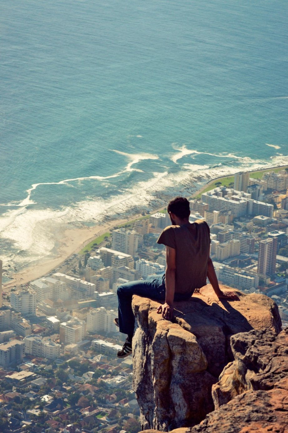 Lion's Head overlooks Cape Town and completely eclipses man made structures at 2,200 feet tall. From the summit of the mountain, you can see a majority of the sprawling city.