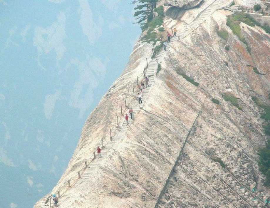 This terrifying path up Mt. Hua Shan, which is more than 7,000 feet high, leads to a teahouse which supposedly has some of the best tea in the world. I hope it's worth the treacherous climb.