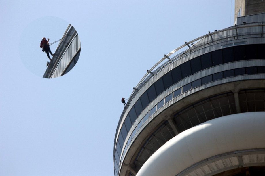 The CN Tower is a 1,800 foot high communications and observation tower. Whether you're on the observation deck or outside of it, the tower offers amazing views of the city.