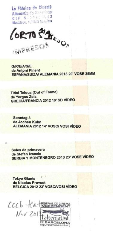 l'Alternativa oficiales 2013: cortos 1