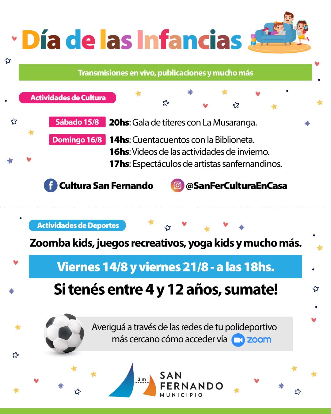 San Fernando festejará del 'Día de las Infancias' por plataformas virtuales y redes sociales