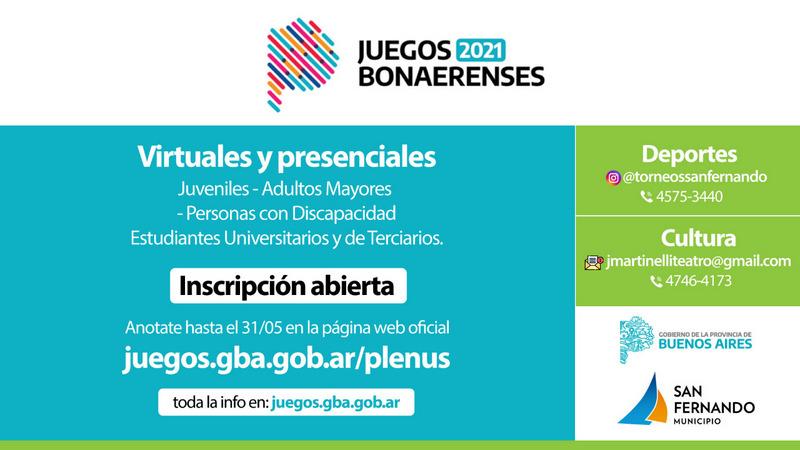Se   encuentra   abierta   la   inscripción   para   los   Juegos Bonaerenses 2021 en disciplinas culturales y deportivas