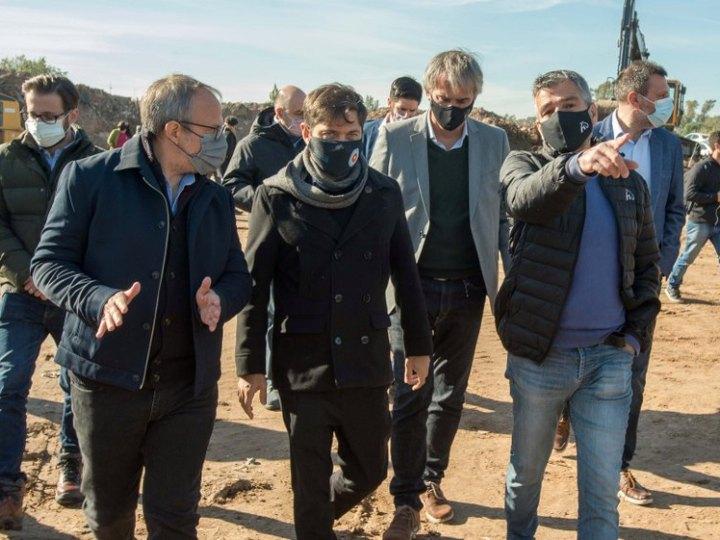 Kicillof, Zabaleta y Valenzuela recorrieron la obra de conexión de Combate de Pavón con la Ruta 4
