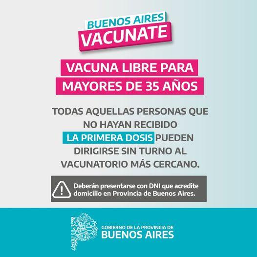 Desde este miércoles Vacunación Libre para Mayores de 35 Años
