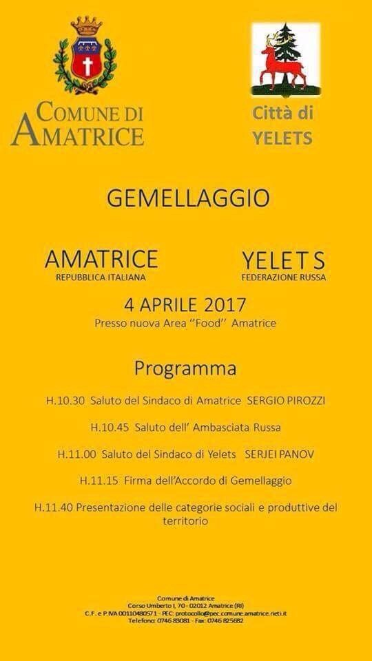 AL VIA GEMELLAGGIO AMATRICE-YELETS (FED. RUSSA)