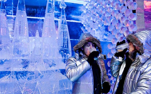 girls drinking at ice bar