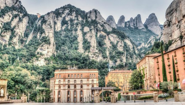 town of montserrat tucked into the mountains
