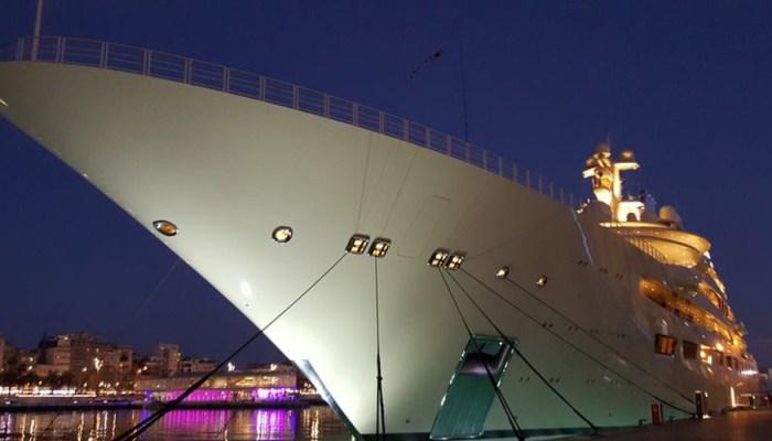 yacht docked in port vell barcelona