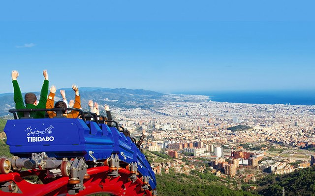 roller coaster looking over barcelona