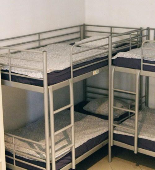 four hostel beds