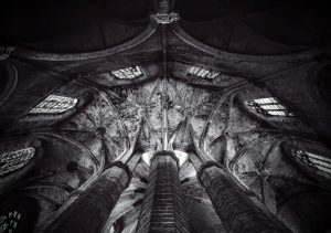 beautiful stone ceiling at church in barcelona