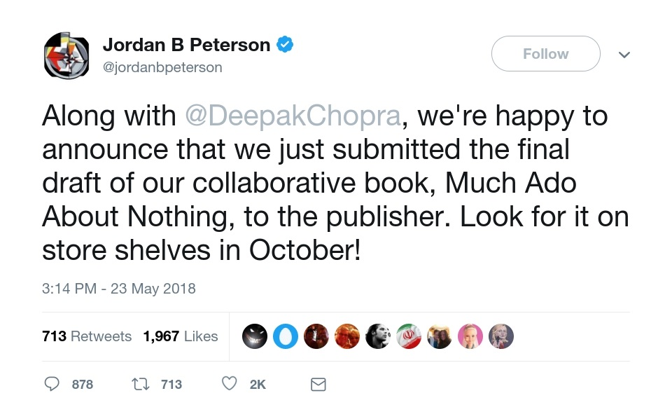 Libro Guinness de récord mundial fábrica Monopolio  Jordan Peterson & Deepak Chopra announce their new book: Much Ado About  Nothing