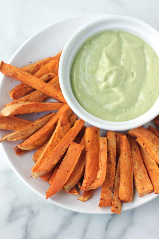 Avocado Ranch with Sweet Potato Fries